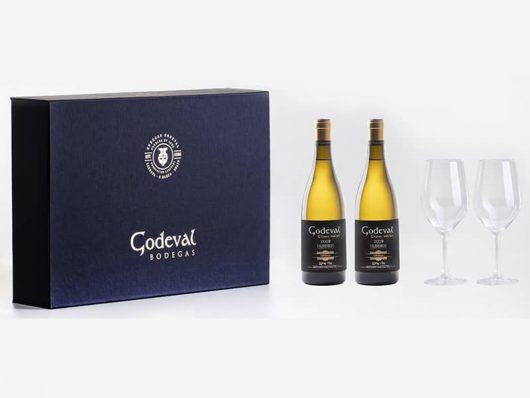 Estuche 2 Botellas de Godeval + 2 cepas Vellas + 2 Copas de vino